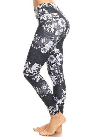 ONYX FLORAL High Quality hi-rise printed legging
