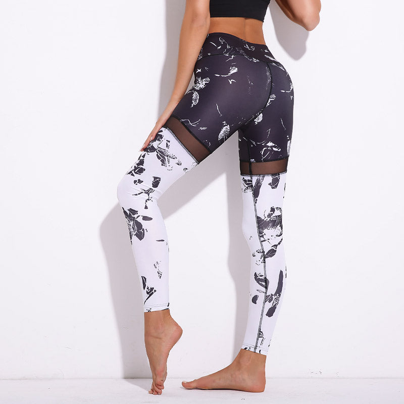 Francess Black And White 3D Graffiti Patchwork leggings