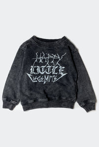 HAPPY SWEATSHIRT / WASHED BLACK