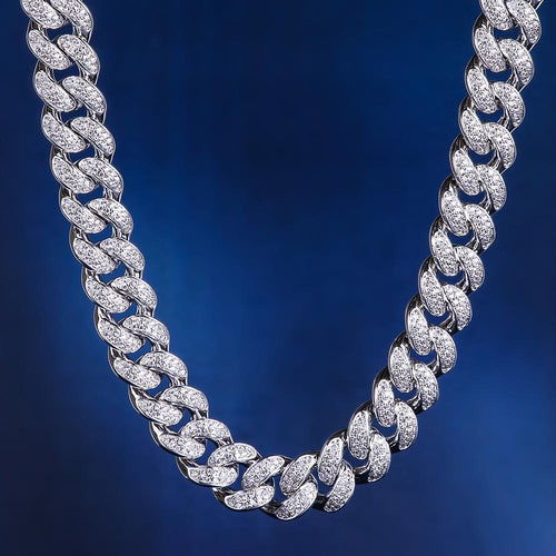 12MM White Gold Iced Out Cuban Chain