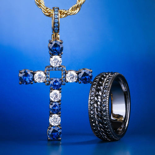 14K Gold Blue Swing Cross Pendant and Rotating Ring Set