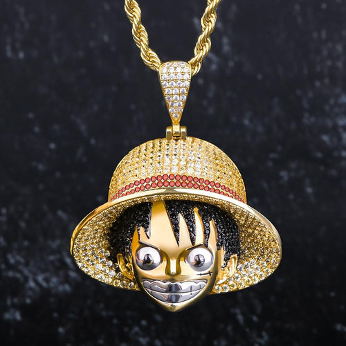 14K Gold CZ Monkey D. Luffy Pendant Necklace