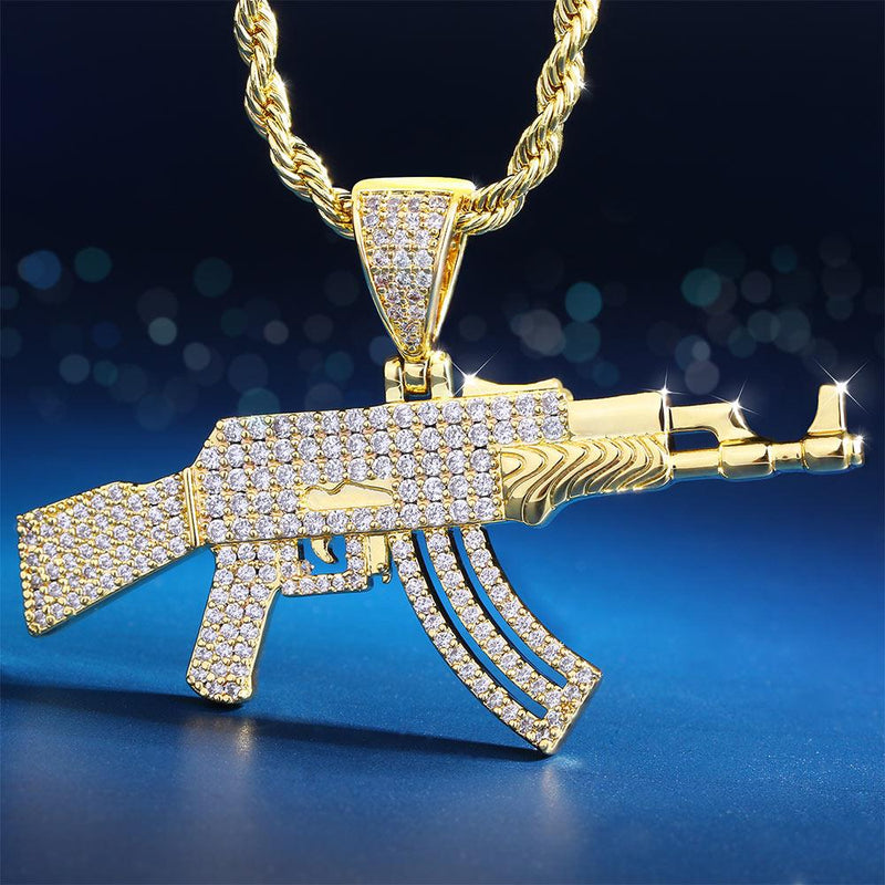 14K Gold Cool Iced Out AK47 Rifle Pendant