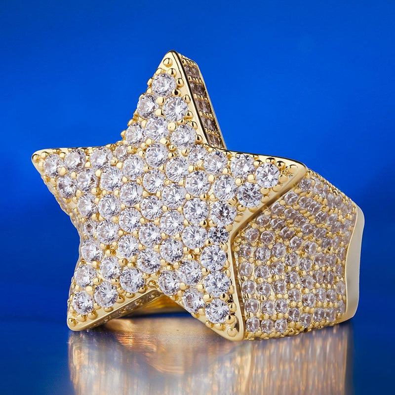 14K Gold Ice Out 5-Pointed CZ Star Ring