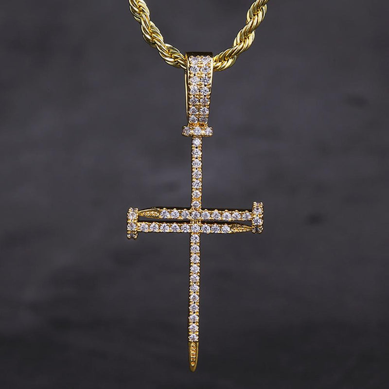 14K Gold Ice Out Mens Nail Cross Pendant Necklace