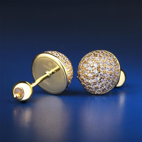 14K Gold Iced Out 925 Sterling Silver Button Earrings