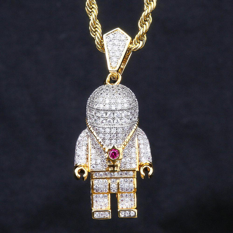 14K Gold Iced Out Astronaut Pendant