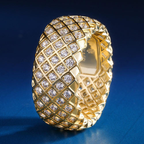 14K Gold Iced Out Ring for Men