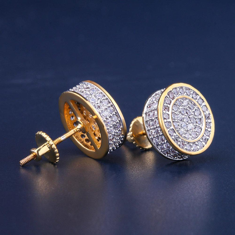 14K Gold Iced Out Round Shape Earrings