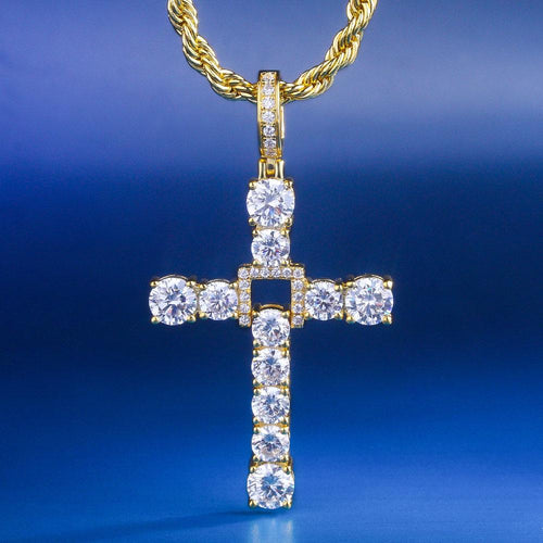 14K Gold Iced Out Swing Cross Pendant Necklace