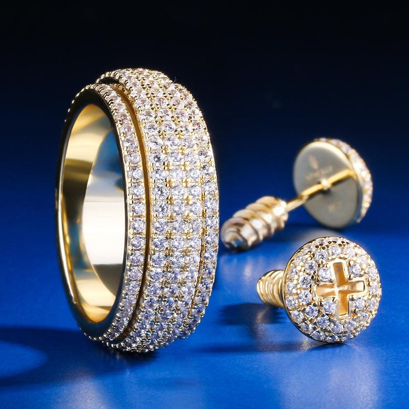14K Gold Iced Rotating Ring and Nail Earrings Set