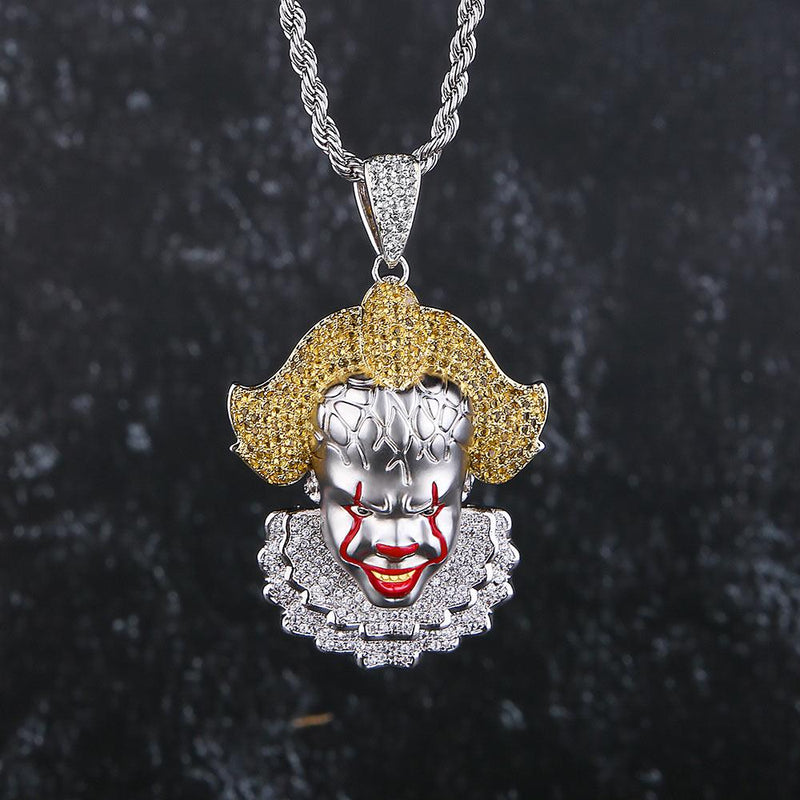 14K Gold Multicolored Iced Out Evil Clown Pendant Necklace