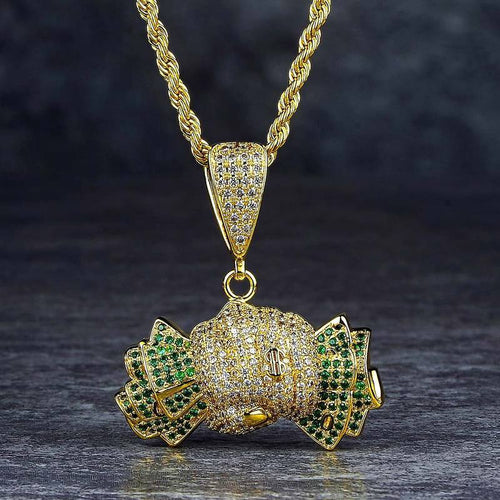 14K Gold Green CZ Iced Out Holding - the Dollar Pendant Necklace
