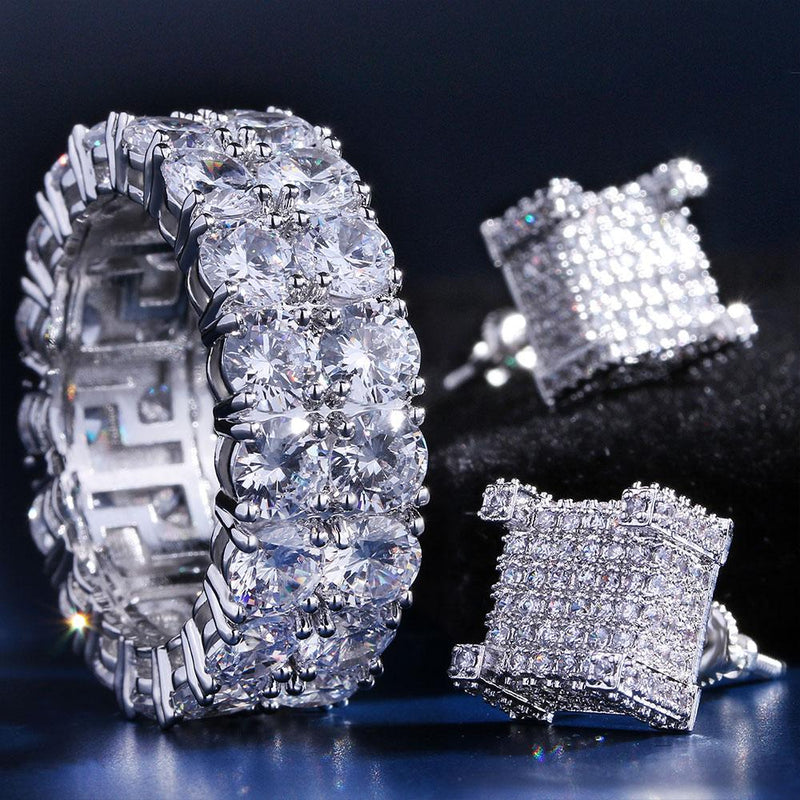 White Gold Two-Row CZ Ring and 3D Earrings Set