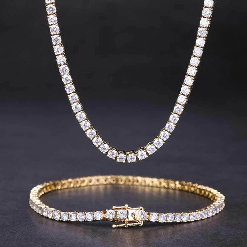 4MM 14K Gold Single Row Tennis Necklace and Bracelet Set