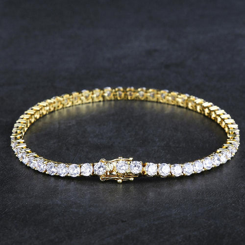 4MM 14K Gold Single Row Tennis Bracelet