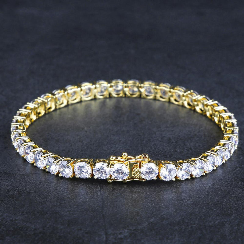 5MM 14K Gold Single Row Tennis Bracelet