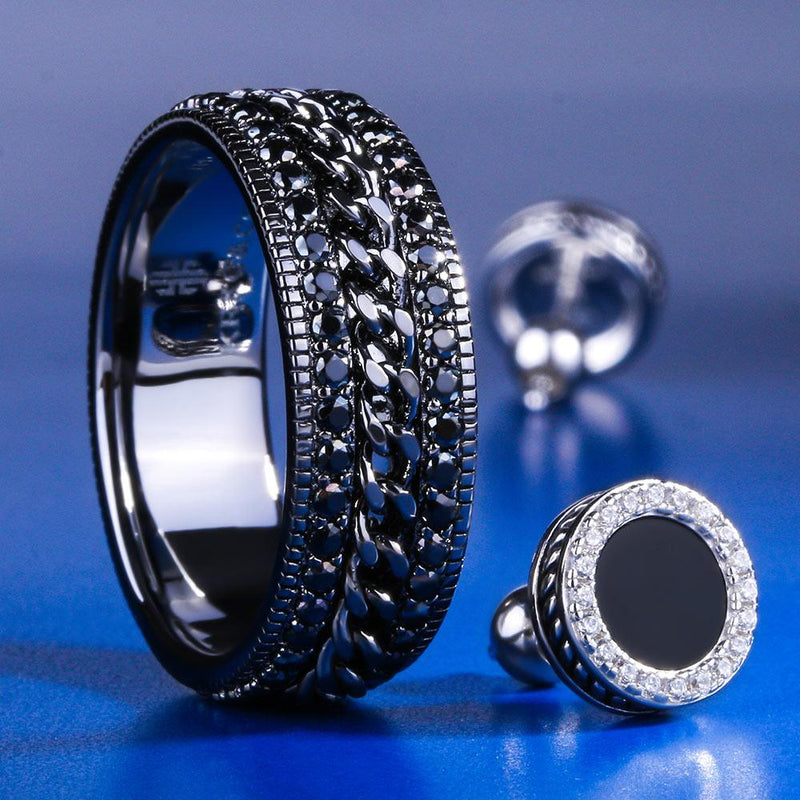 Black Gold G-link Rotating Ring and Onyx Earrings Set