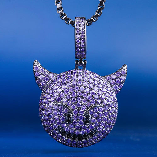 Black Gold Purple Devil Emoji Pendant necklace