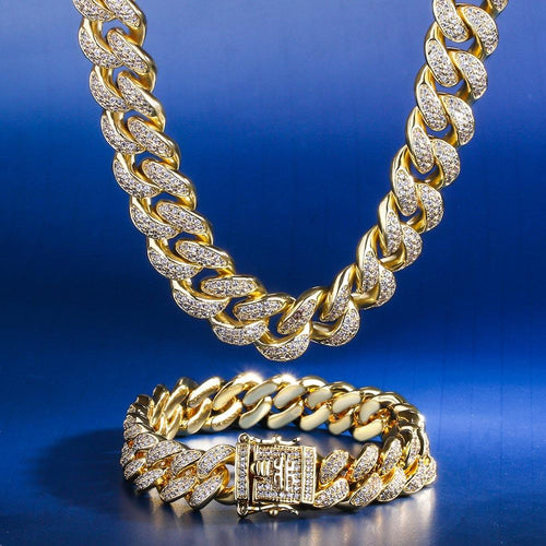 12MM 14K Gold Cuban Chain and Bracelet Set