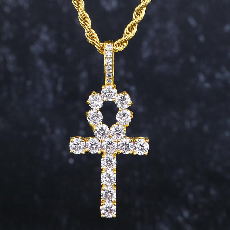 Gold Iced Out Ankh Cross Pendant