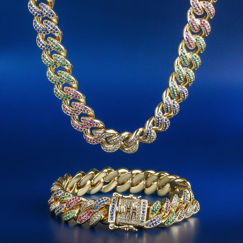 12MM 14K Gold Multicolored Cuban Chain and Bracelet set