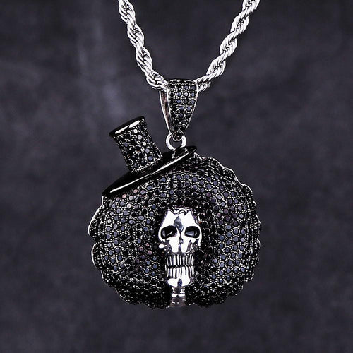 Iced Out Black Afro Skull Pendant