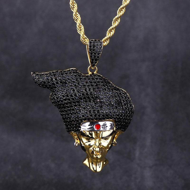 14K Gold AFRO SAMURAI Pendant Necklace