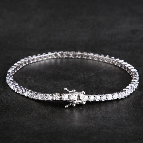 3MM White Gold Single Row Tennis Bracelet