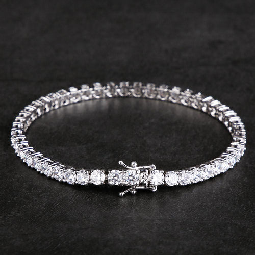 4MM White Gold Single Row Tennis Bracelet