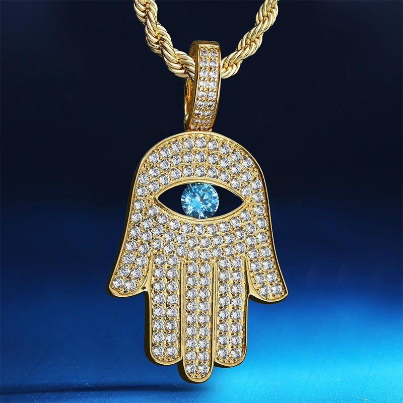 ( Limited Version) 14K Gold Iced Out Hamsa Hand