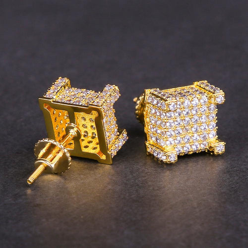 Micro Pave Gold Iced Out 3D CZ Hip Hop Earrings