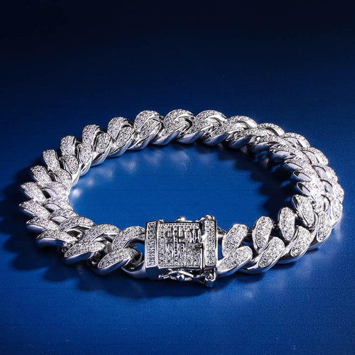 12MM White Gold CZ Stone Iced Out Cuban Bracelet