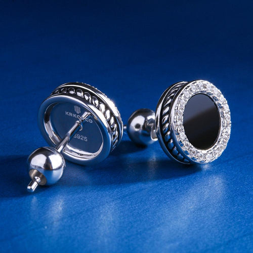 White Gold 925 Sterling Silver Black Onyx Inlaid Round Earrings