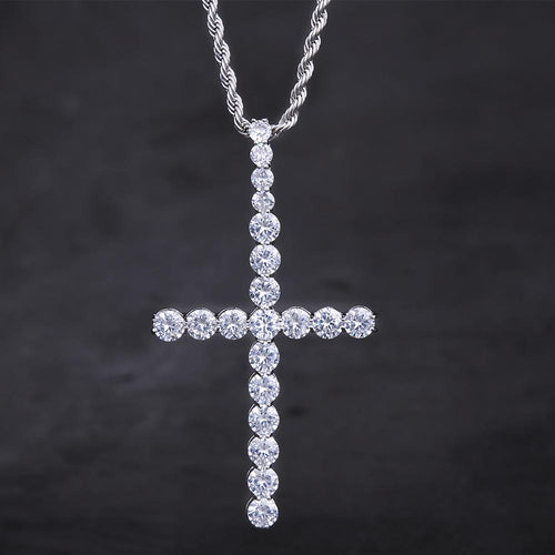 White Gold Big Ice Out Cross Pendant Necklace