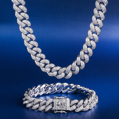 12MM White Gold Cuban Chain and bracelet Set