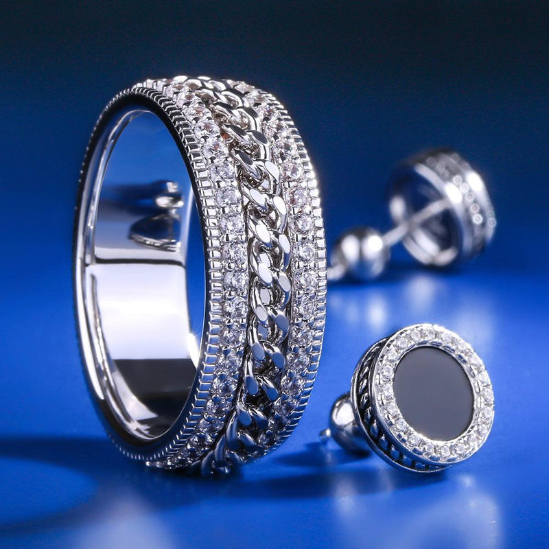 White Gold G-link Rotating Ring and Onyx Earrings Set