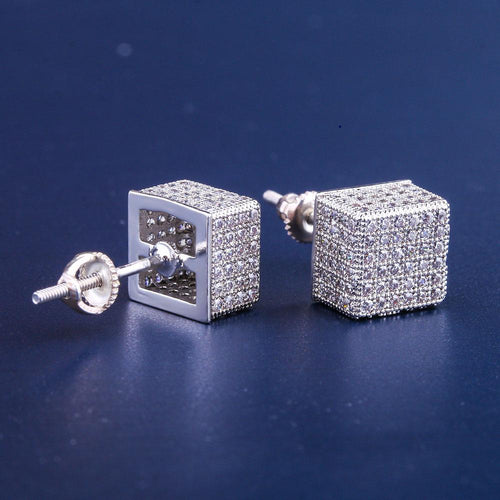 White Gold Iced Cubic Earrings