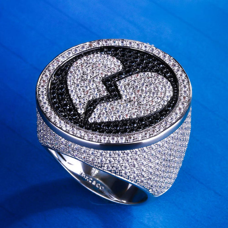 White Gold Iced Out Broken Heart Ring