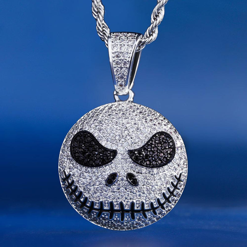 White Gold Iced Out Jack Skellington Pendant Necklace