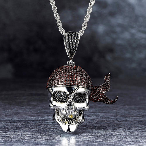 White Gold Iced Out Pirate Skull With Red Ribbon Pendant