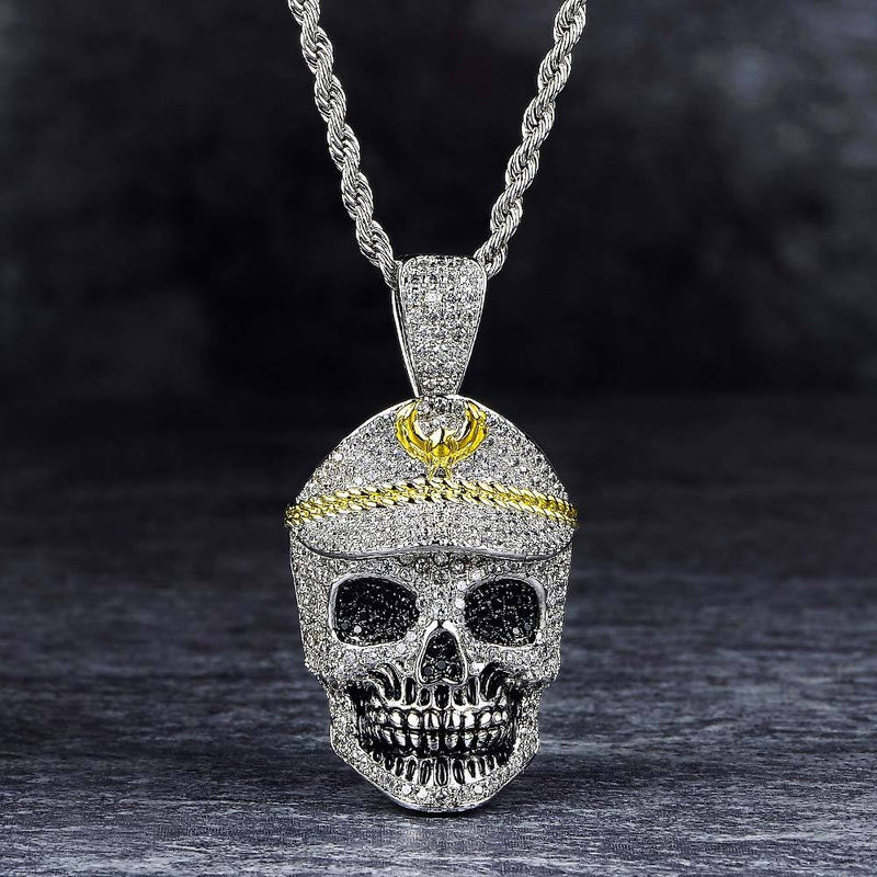 White Gold Iced Out Skull With Military Cap Pendant
