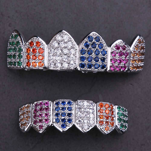 White Gold Multicolored CZ Grillz Teeth Set