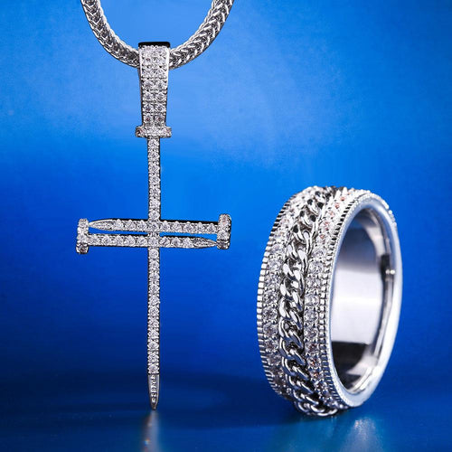 White Gold Nail Cross and G- link Rotating Ring Set