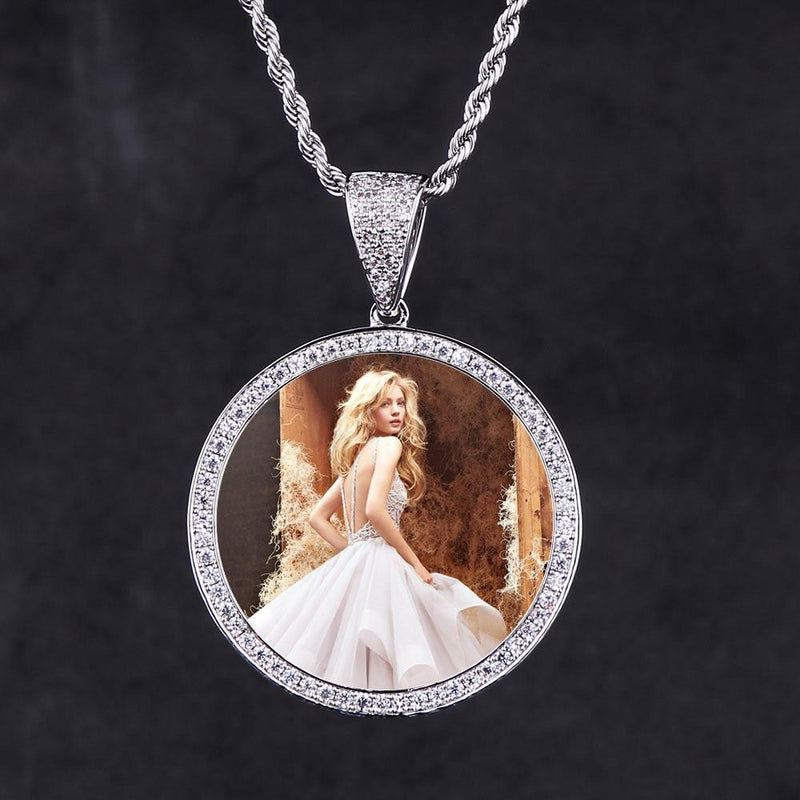 White Gold Iced Out Custom Photo Pendant