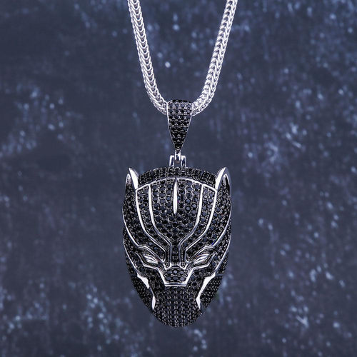Hip Hop Iced Black Panther Pendant Necklace