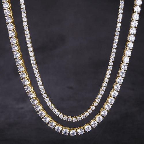 14K Gold Tennis Chains Set (5MM 24''+3MM 22'')