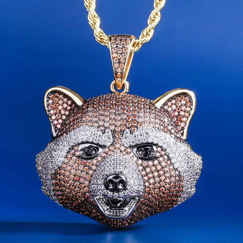 (presale)14K Gold Multicolored Iced out Rocket Raccoon Pendant Necklace