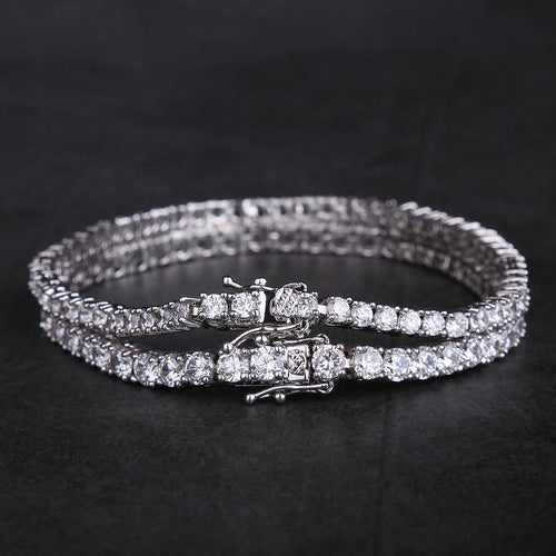 White Gold Single Row Tennis Bracelet Set (3mm+4mm)