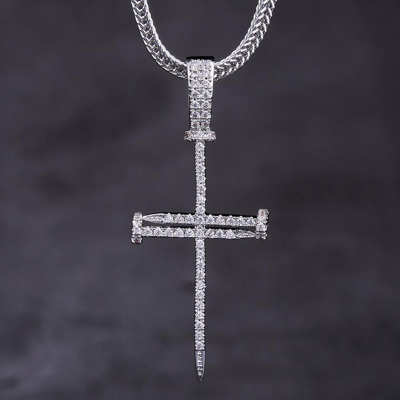 White Gold Ice Out Mens Nail Cross Pendant Necklace